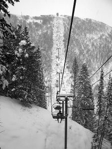 Alone and going to the top on a Utah ski lift. (Wikipedia)